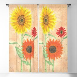 Sunflowers in Autumn on Ink Blackout Curtain