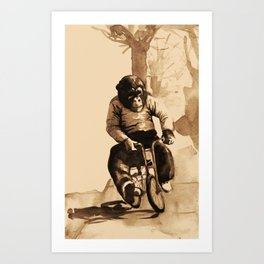 Bicycle Monkey Art Print