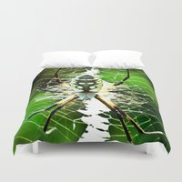 returns Duvet Covers featuring Spidey Returns by TexasArt