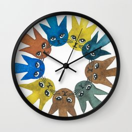 Rouen Whimsical Cats Wall Clock
