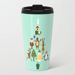 Christmas tree with reindeer, Santa Claus and bear Travel Mug