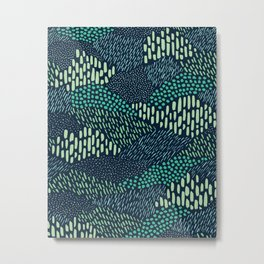 Dashes and dots in blue-green // abstract pattern Metal Print