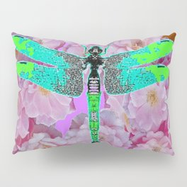 EMERALD DRAGONFLY PINK ROSES COFFEE BROWN Pillow Sham