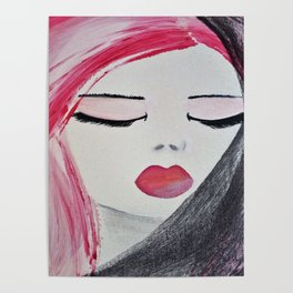 Shy Girl. Abstract Pink Girl. Pink Lips. Pink Hair. Jodilynpaintings. Eyelashes. Gift for All Girls. Poster