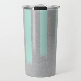Soft cyan stripes on concrete Travel Mug