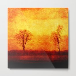 Lone trees on an English winters day  Metal Print