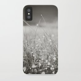 Morning Dew Nature Photography, Sparkle Bokeh Grass, Sepia Sparkly Photograph iPhone Case