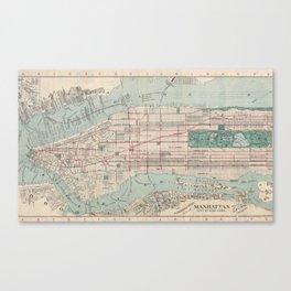 New York City, Manhattan, Vintage Map Canvas Print
