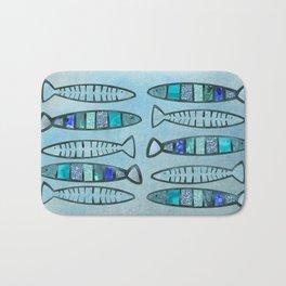Blue Turquoise Glamour Fish Pattern Bath Mat