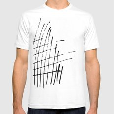 Grid Sketch Black and White White Mens Fitted Tee MEDIUM