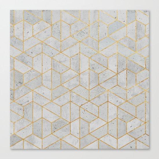 Concrete Hexagonal Pattern Canvas Print