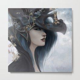 Bluish Black - Mysterious fantasy mage girl portrait Metal Print