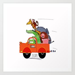 Escape from the Zoo! Art Print