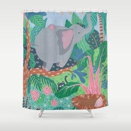 The Elephant is a funny bird Shower Curtain