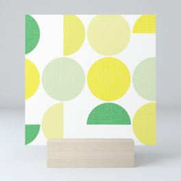 Bauhaus Semicircles Lime Green Mini Art Print