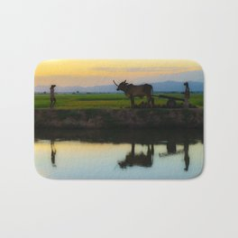 Cambodia, life on the rice field with loyalty cow in Cambodia Bath Mat