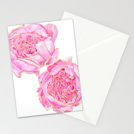 Pink and gold peonies, Sally Stationery Cards