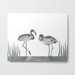 Flamingos in Silvery Blue Metal Print