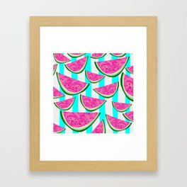 Watermelon Crush on Aqua and White Stripes Framed Art Print