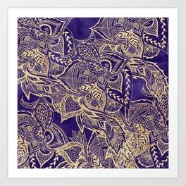 Gold hand drawn floral lace mandala on purple watercolor peacock Art Print