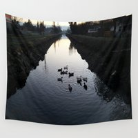 ducks Wall Tapestries featuring Ducks by theedwardiangirl