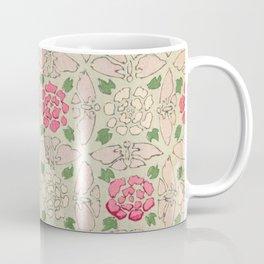 Vintage Pink and Sea Green Floral Pattern Coffee Mug
