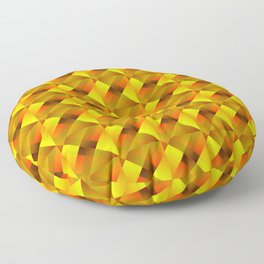 Cross shaped bright yellow squares and triangles in orange. Floor Pillow