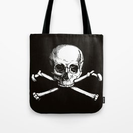 Skull and Crossbones | Jolly Roger | Pirate Flag | Black and White | Tote Bag