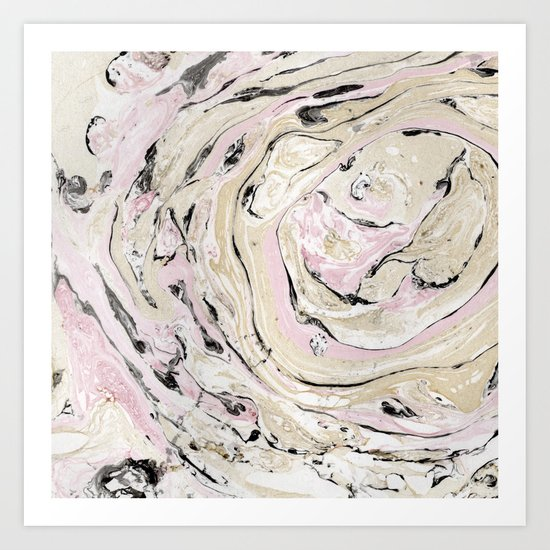 Pink and gold marble Art Print