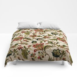 Red Green Jacobean Floral Embroidery Pattern Comforters