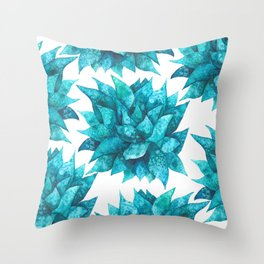 Watercolor spiky succulent - turquoise Throw Pillow