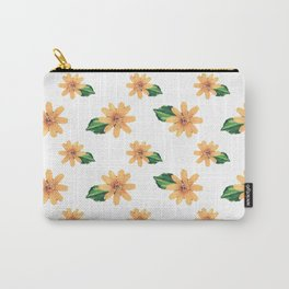 Yellow Flowers White Pattern Carry-All Pouch