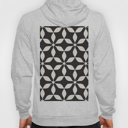 Black & White Geometric Pattern Funky Retro 70s Style Wavy Leaf Hoody