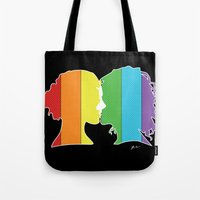 lesbian Tote Bags featuring Lesbian Love  by Winter Graphics