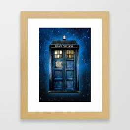 Beautiful tardis with yellow stained glass windows Framed Art Print