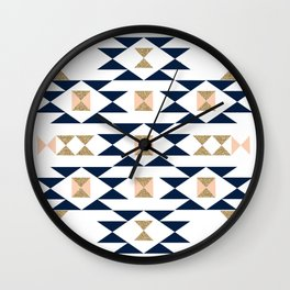 Jacs - Modern pattern design in aztec themed pattern navajo print textile cute trendy girl Wall Clock