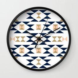 Jacs - Modern pattern design in aztec themed pattern navajo print textile cute trendy girl Wall Clock