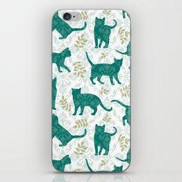 Damask Green Cats iPhone Skin