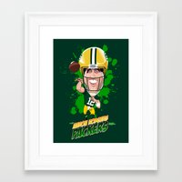 packers Framed Art Prints featuring Aaron Rodgers by Greene Graphics