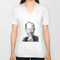 steve jobs V-neck T-shirts featuring Steve Jobs caricature by michelepetrelli