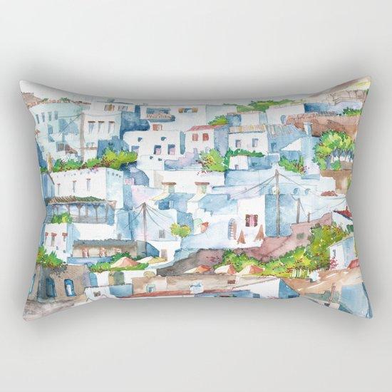Panorama of Lindos Rectangular Pillow