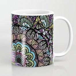 Colorful Floral Mandala Pattern with Geometric Drawings Coffee Mug