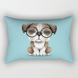 Cute English Bulldog Puppy Wearing Glasses on Blue Rectangular Pillow