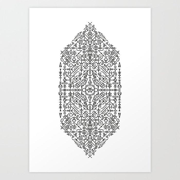 Glyphs - 03 (B&W Edition) Art Print