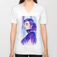 audrey hepburn V-neck T-shirts featuring Audrey Hepburn by VivianLohArts