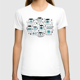 Retro coffee cups teal T-shirt