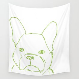Sketched Frenchie (Green on White) Wall Tapestry