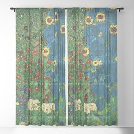 Farm Garden with Sunflowers and blue leaves by Gustav Klimt Sheer Curtain