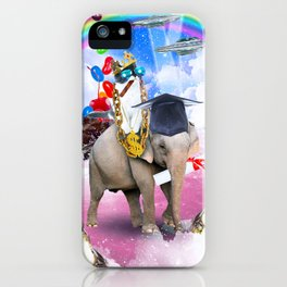 Cat Riding Elephant With Sundae And Jelly Beans iPhone Case