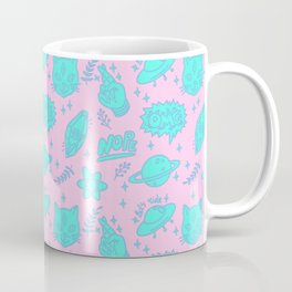 Fingers crossed three-eyed cat and UFO pattern Coffee Mug